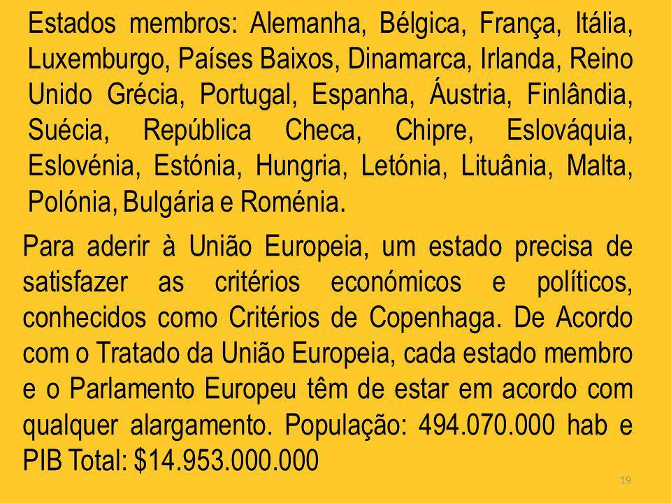 19 Estados membros: Alemanha, Bélgica, França, Itália, Luxemburgo, Países Baixos, Dinamarca, Irlanda, Reino Unido Grécia, Portugal, Espanha, Áustria,