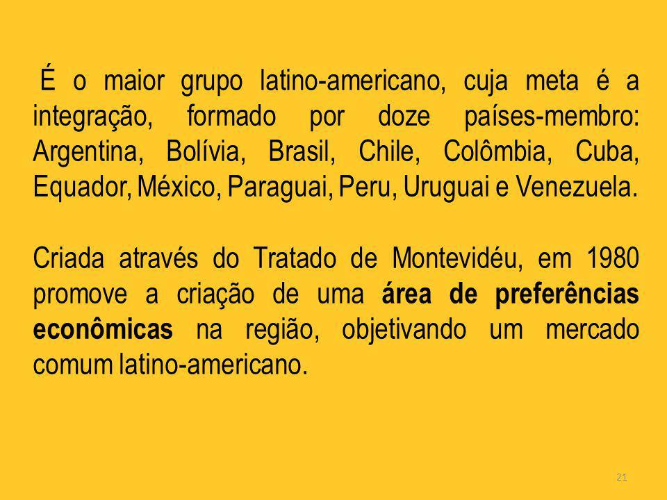 21 É o maior grupo latino-americano, cuja meta é a integração, formado por doze países-membro: Argentina, Bolívia, Brasil, Chile, Colômbia, Cuba, Equa