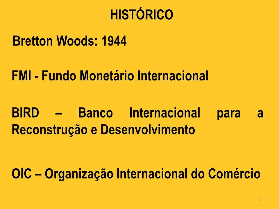 HISTÓRICO Bretton Woods: 1944 FMI - Fundo Monetário Internacional BIRD – Banco Internacional para a Reconstrução e Desenvolvimento OIC – Organização I