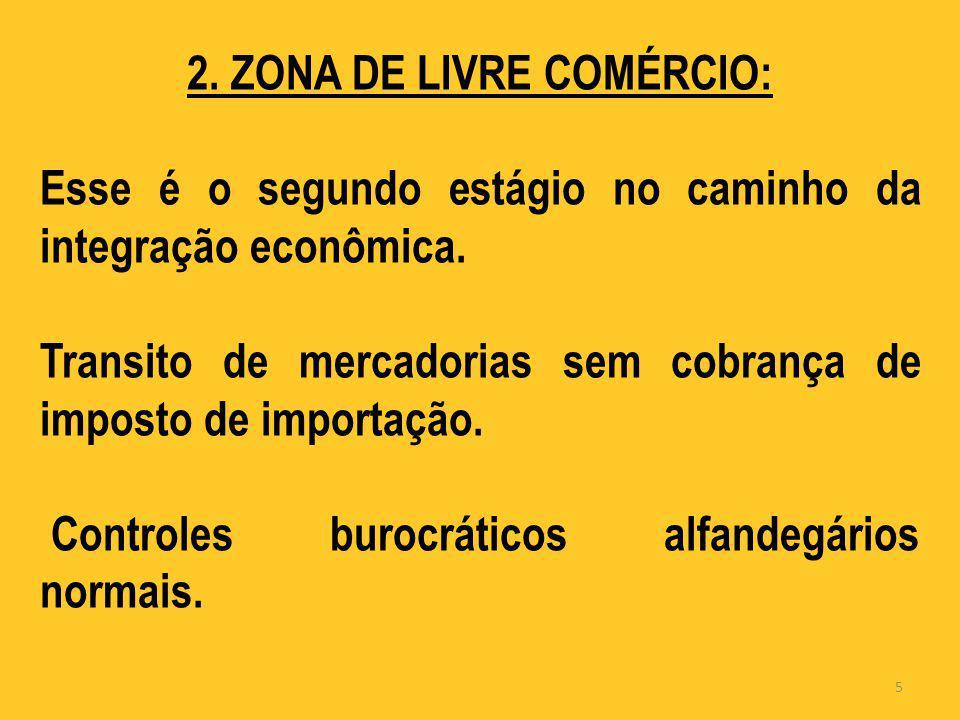 2. ZONA DE LIVRE COMÉRCIO: Esse é o segundo estágio no caminho da integração econômica. Transito de mercadorias sem cobrança de imposto de importação.