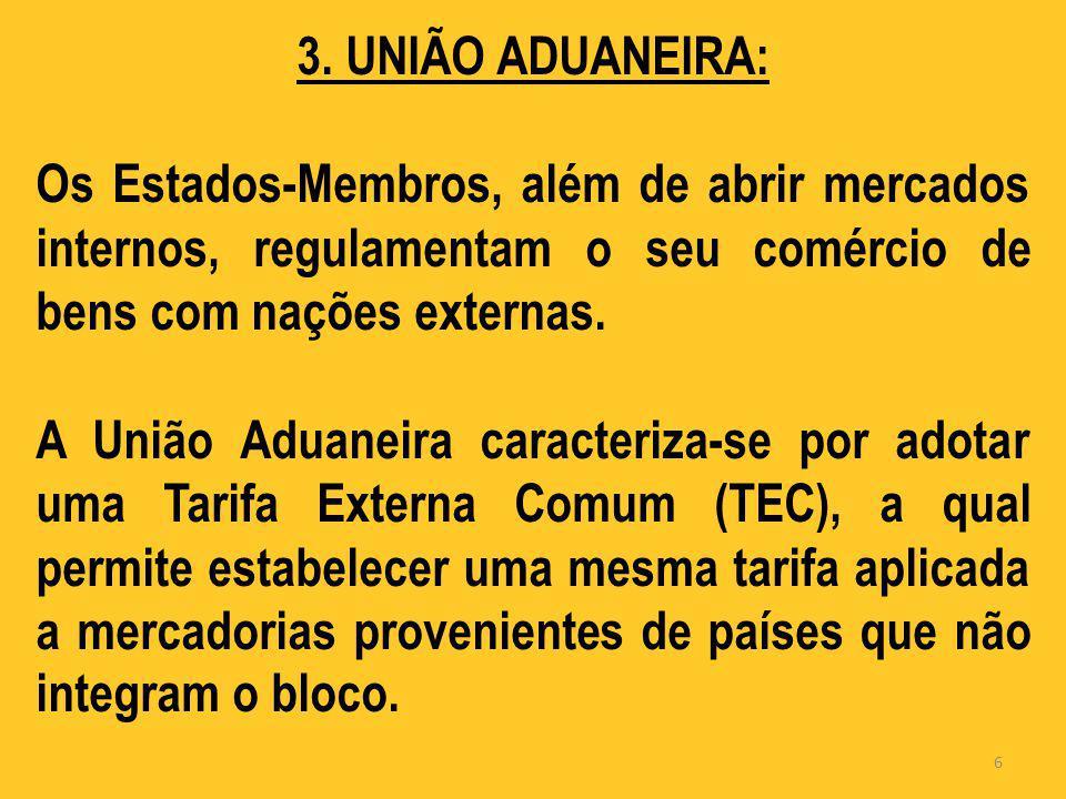 3. UNIÃO ADUANEIRA: Os Estados-Membros, além de abrir mercados internos, regulamentam o seu comércio de bens com nações externas. A União Aduaneira ca