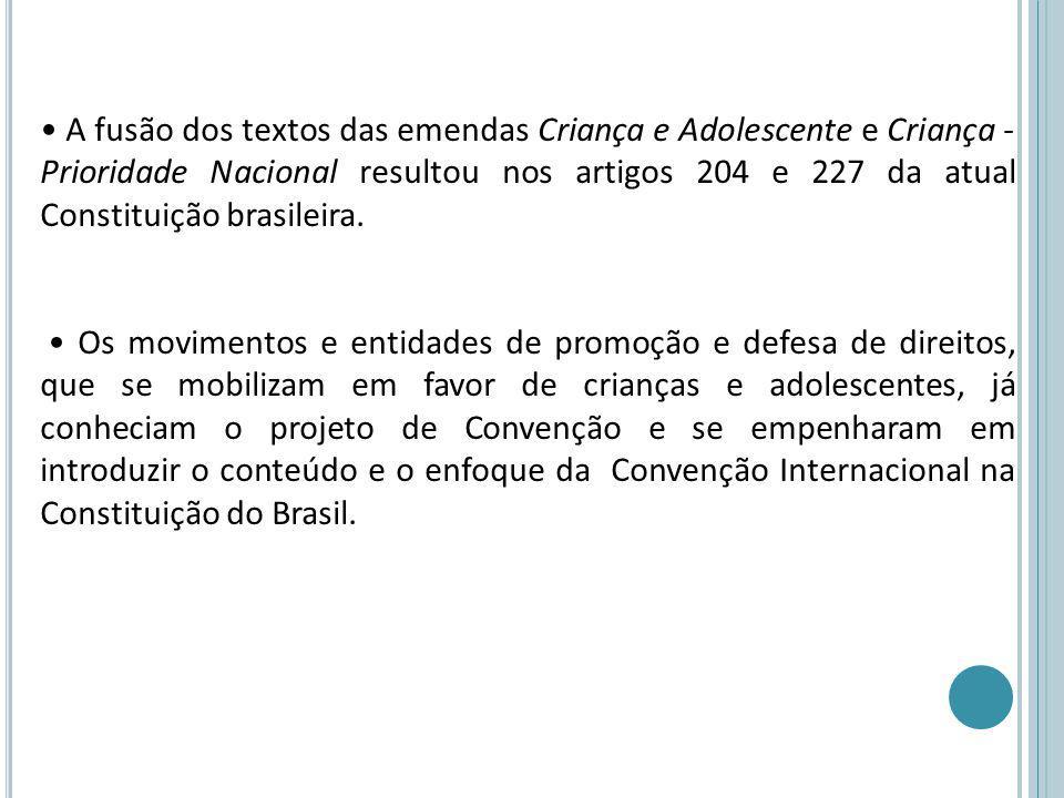 A fusão dos textos das emendas Criança e Adolescente e Criança - Prioridade Nacional resultou nos artigos 204 e 227 da atual Constituição brasileira.