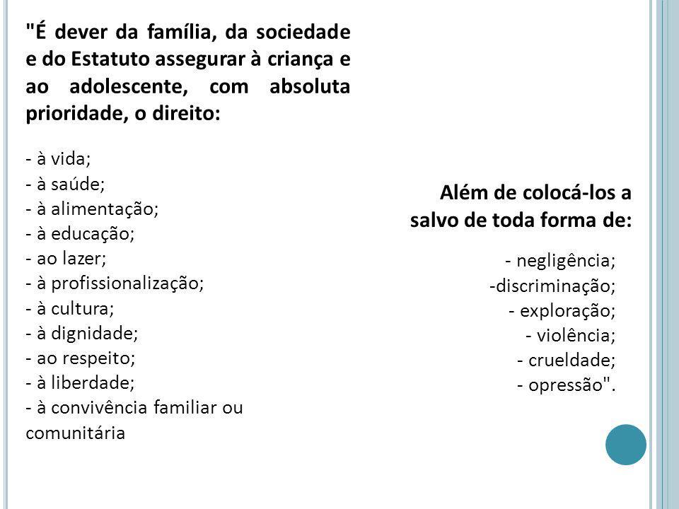 É dever da família, da sociedade e do Estatuto assegurar à criança e ao adolescente, com absoluta prioridade, o direito: - à vida; - à saúde; - à alimentação; - à educação; - ao lazer; - à profissionalização; - à cultura; - à dignidade; - ao respeito; - à liberdade; - à convivência familiar ou comunitária Além de colocá-los a salvo de toda forma de: - negligência; -discriminação; - exploração; - violência; - crueldade; - opressão .