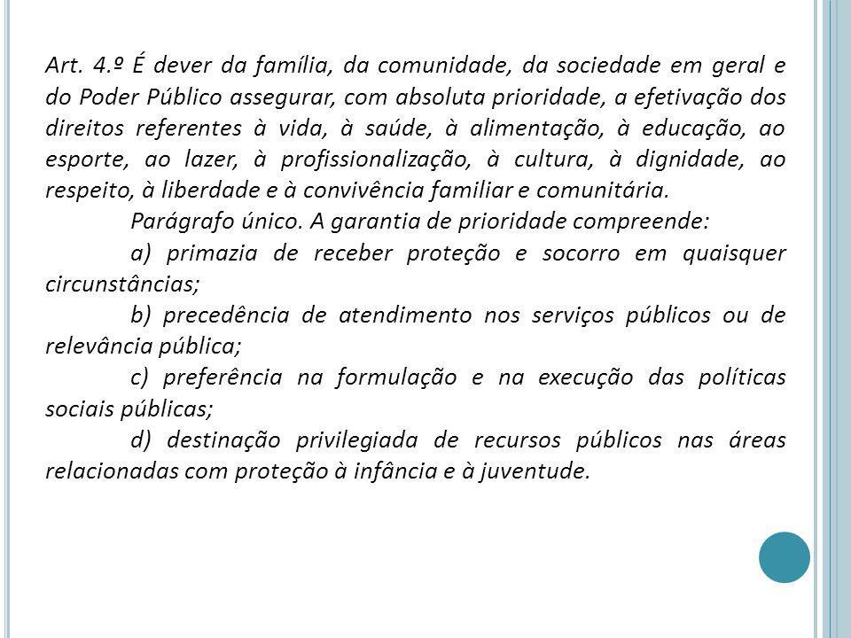 Art. 4.º É dever da família, da comunidade, da sociedade em geral e do Poder Público assegurar, com absoluta prioridade, a efetivação dos direitos ref
