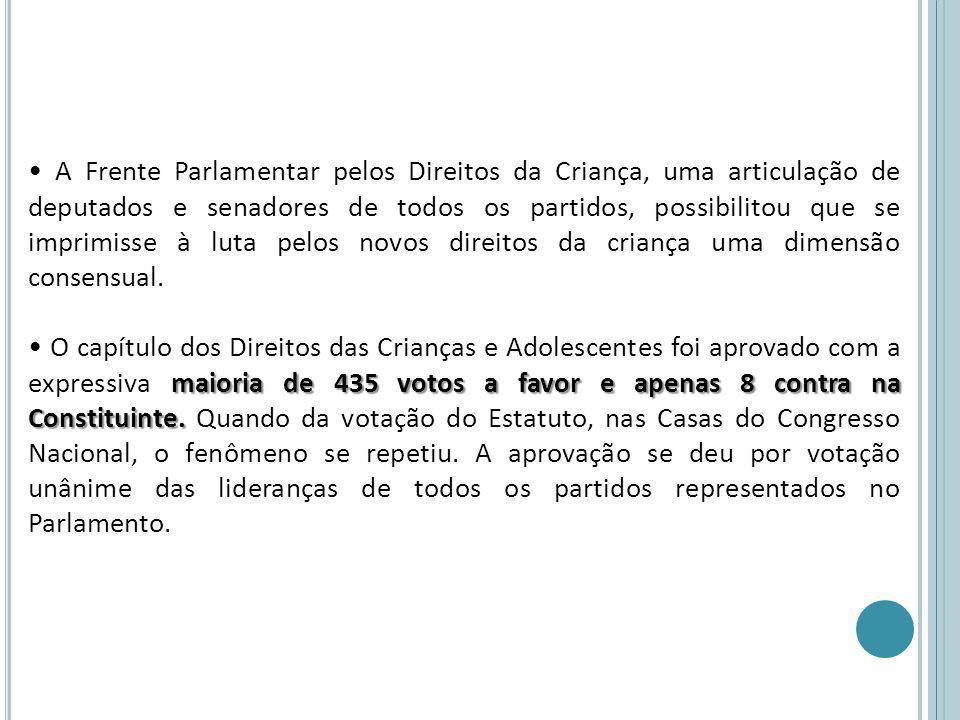 A Frente Parlamentar pelos Direitos da Criança, uma articulação de deputados e senadores de todos os partidos, possibilitou que se imprimisse à luta p