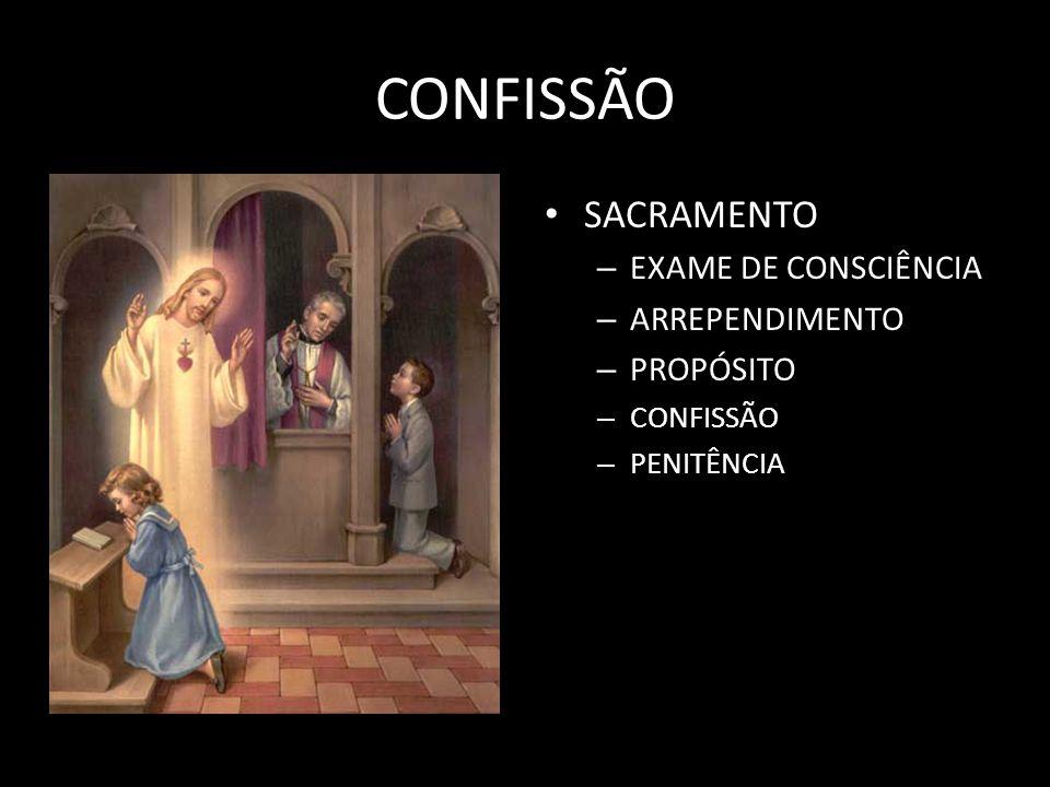 CONFISSÃO SACRAMENTO – EXAME DE CONSCIÊNCIA – ARREPENDIMENTO – PROPÓSITO – CONFISSÃO – PENITÊNCIA