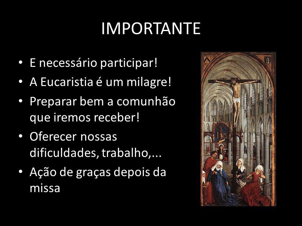 IMPORTANTE E necessário participar.A Eucaristia é um milagre.