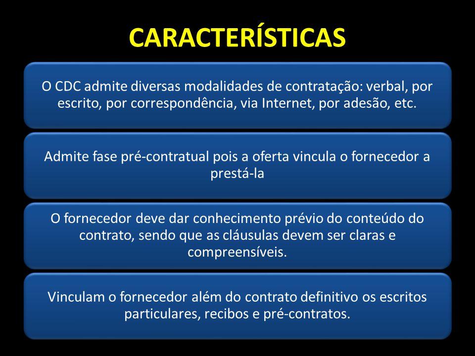 CARACTERÍSTICAS O CDC admite diversas modalidades de contratação: verbal, por escrito, por correspondência, via Internet, por adesão, etc. Admite fase