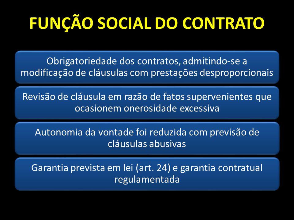 FUNÇÃO SOCIAL DO CONTRATO Obrigatoriedade dos contratos, admitindo-se a modificação de cláusulas com prestações desproporcionais Revisão de cláusula e