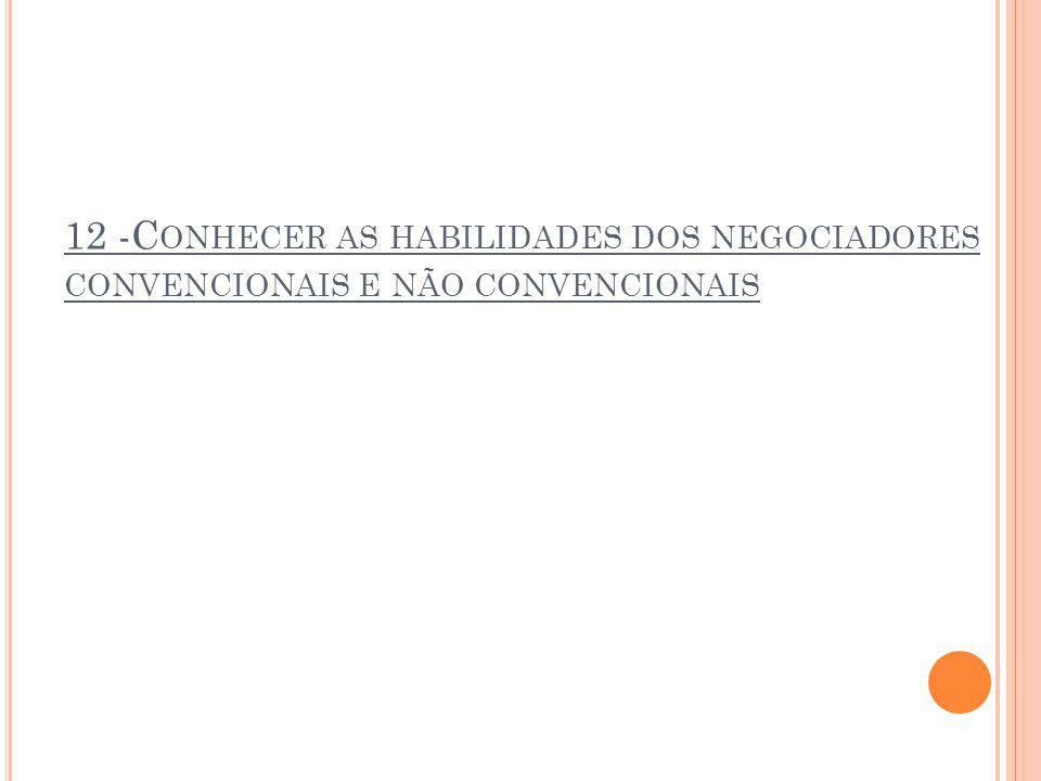 12 -C ONHECER AS HABILIDADES DOS NEGOCIADORES CONVENCIONAIS E NÃO CONVENCIONAIS