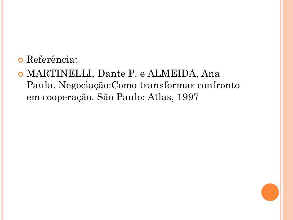 Referência: MARTINELLI, Dante P. e ALMEIDA, Ana Paula. Negociação:Como transformar confronto em cooperação. São Paulo: Atlas, 1997