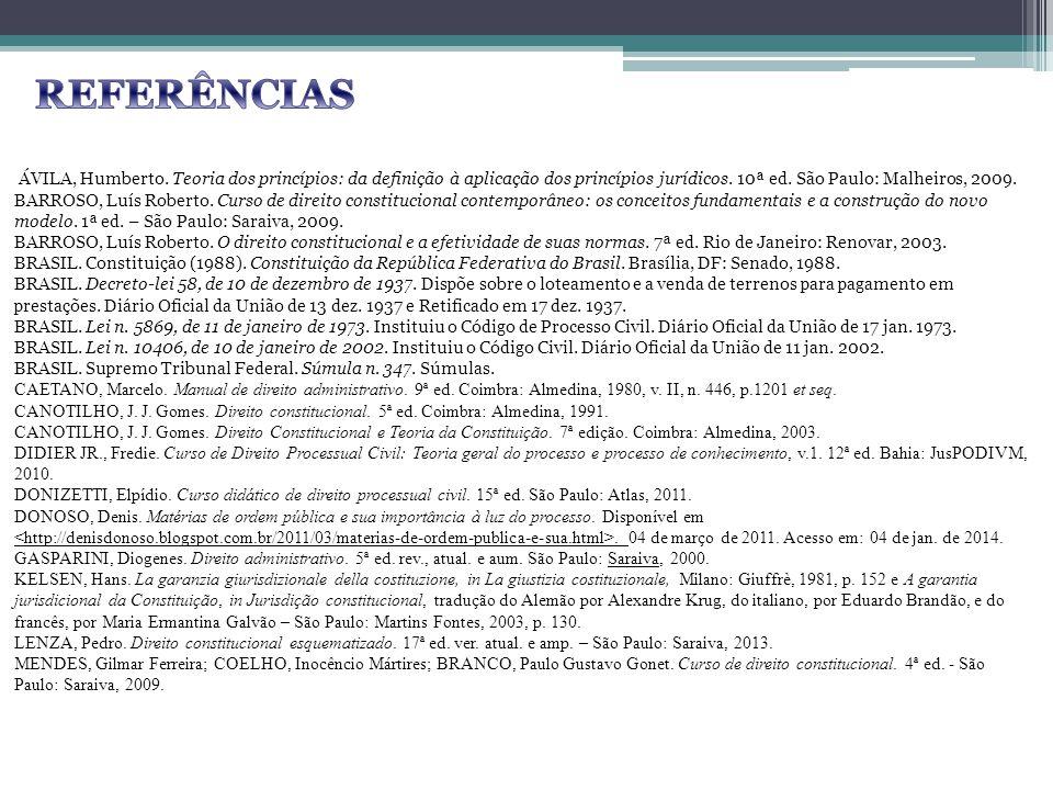 ÁVILA, Humberto. Teoria dos princípios: da definição à aplicação dos princípios jurídicos. 10ª ed. São Paulo: Malheiros, 2009. BARROSO, Luís Roberto.