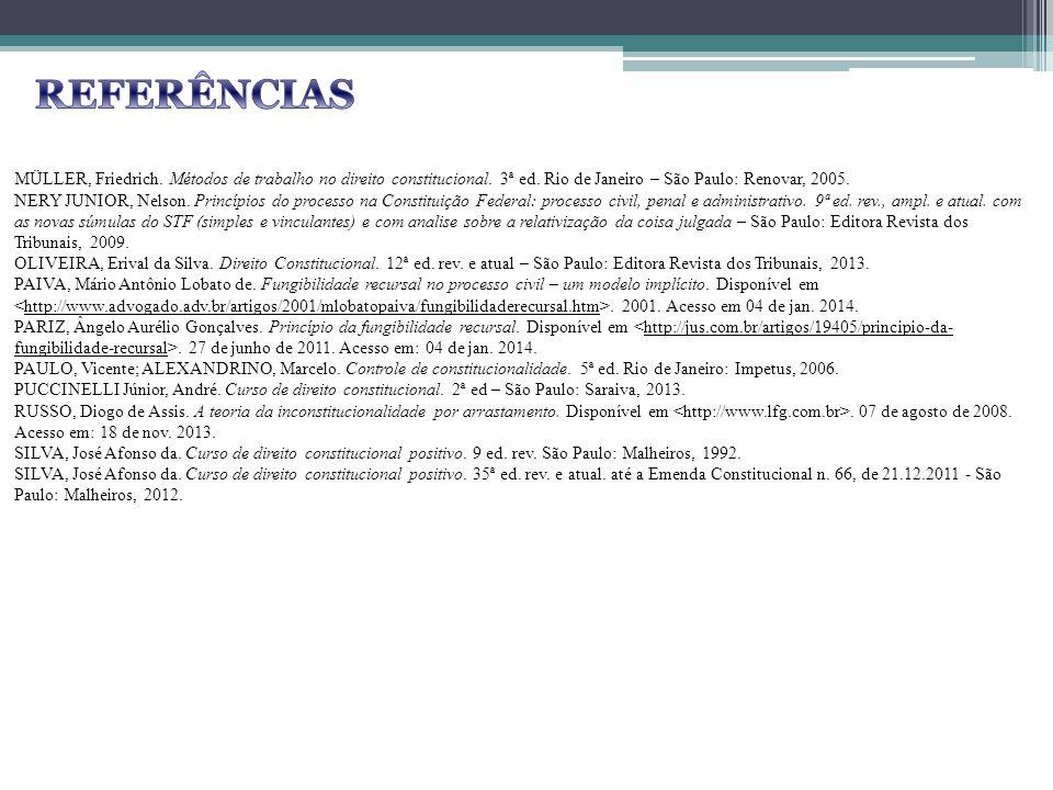 MÜLLER, Friedrich. Métodos de trabalho no direito constitucional. 3ª ed. Rio de Janeiro – São Paulo: Renovar, 2005. NERY JUNIOR, Nelson. Princípios do