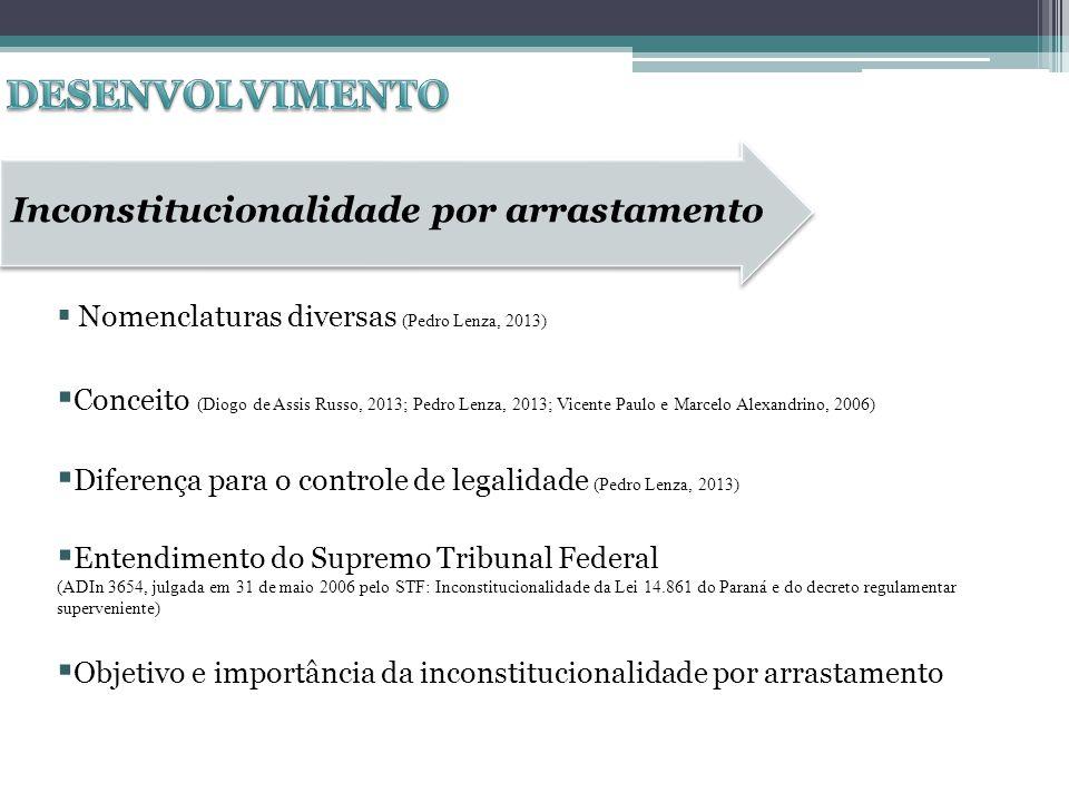 Inconstitucionalidade por arrastamento Nomenclaturas diversas (Pedro Lenza, 2013) Conceito (Diogo de Assis Russo, 2013; Pedro Lenza, 2013; Vicente Pau