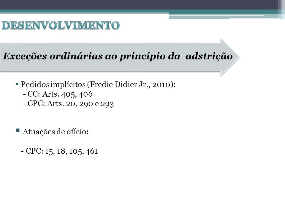 Pedidos implícitos (Fredie Didier Jr., 2010): - CC: Arts. 405, 406 - CPC: Arts. 20, 290 e 293 Atuações de ofício: - CPC: 15, 18, 105, 461 Exceções ord