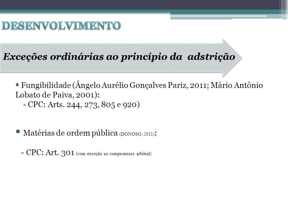 Fungibilidade (Ângelo Aurélio Gonçalves Pariz, 2011; Mário Antônio Lobato de Paiva, 2001): - CPC: Arts. 244, 273, 805 e 920) Matérias de ordem pública