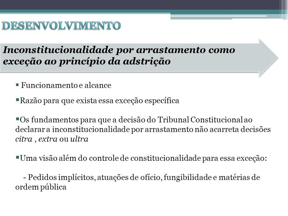 Funcionamento e alcance Razão para que exista essa exceção específica Os fundamentos para que a decisão do Tribunal Constitucional ao declarar a incon
