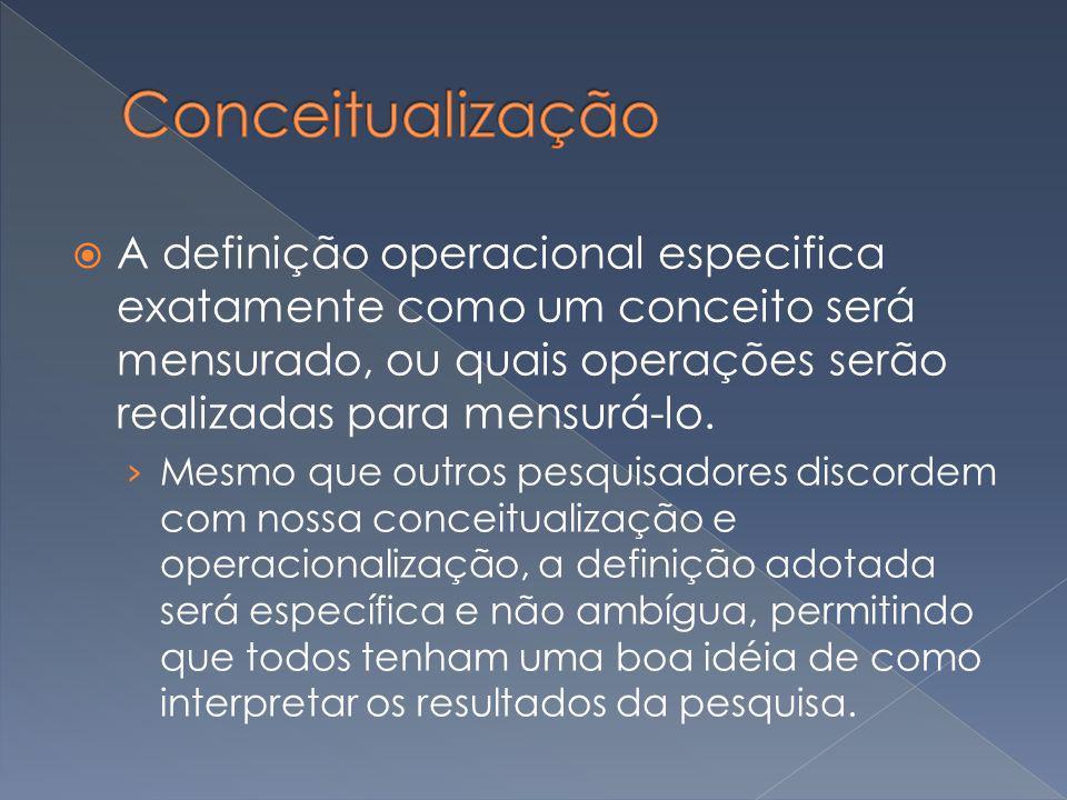 A definição operacional especifica exatamente como um conceito será mensurado, ou quais operações serão realizadas para mensurá-lo. Mesmo que outros p