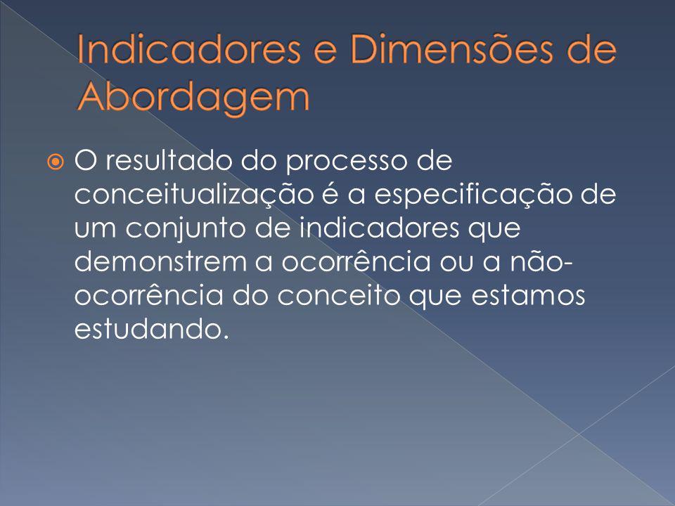 O resultado do processo de conceitualização é a especificação de um conjunto de indicadores que demonstrem a ocorrência ou a não- ocorrência do concei