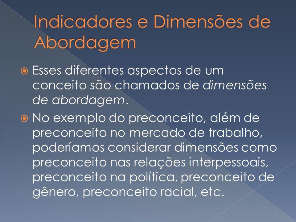 Esses diferentes aspectos de um conceito são chamados de dimensões de abordagem. No exemplo do preconceito, além de preconceito no mercado de trabalho