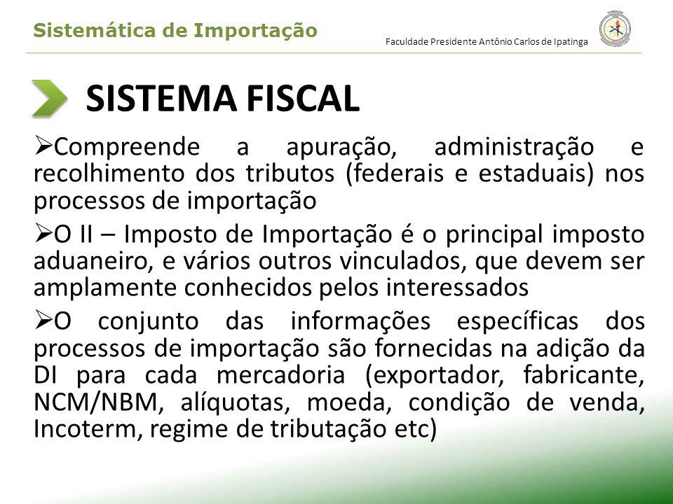 SISTEMA FISCAL Compreende a apuração, administração e recolhimento dos tributos (federais e estaduais) nos processos de importação O II – Imposto de I