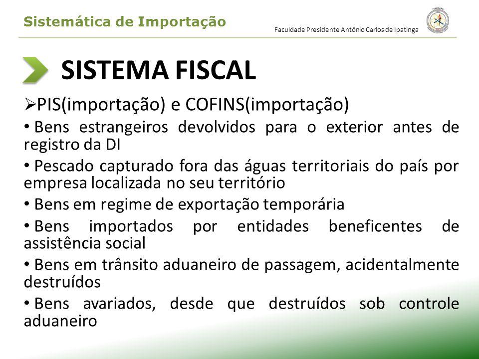 SISTEMA FISCAL PIS(importação) e COFINS(importação) Bens estrangeiros devolvidos para o exterior antes de registro da DI Pescado capturado fora das ág