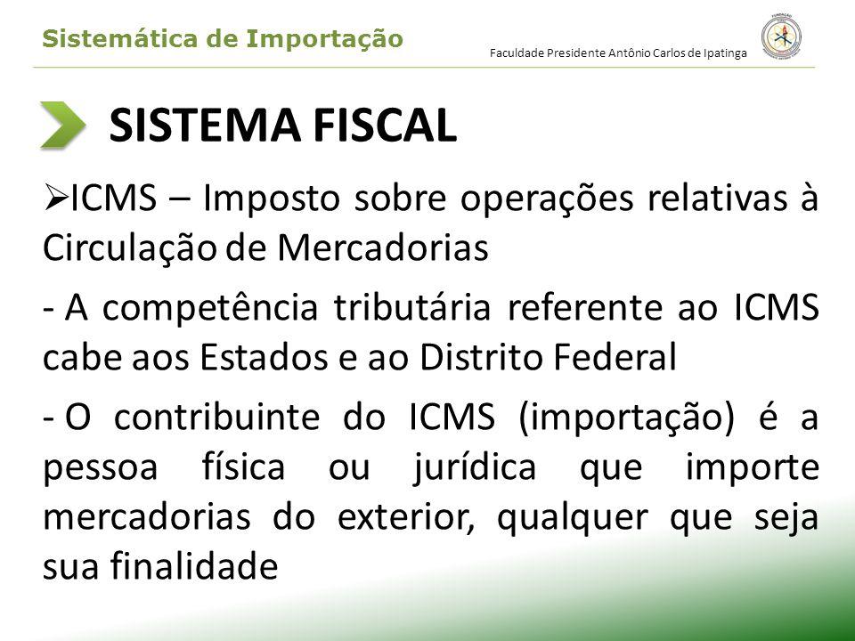 SISTEMA FISCAL ICMS – Imposto sobre operações relativas à Circulação de Mercadorias - A competência tributária referente ao ICMS cabe aos Estados e ao