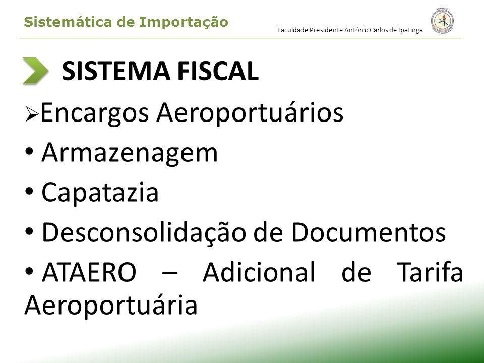 SISTEMA FISCAL Encargos Aeroportuários Armazenagem Capatazia Desconsolidação de Documentos ATAERO – Adicional de Tarifa Aeroportuária Faculdade Presid