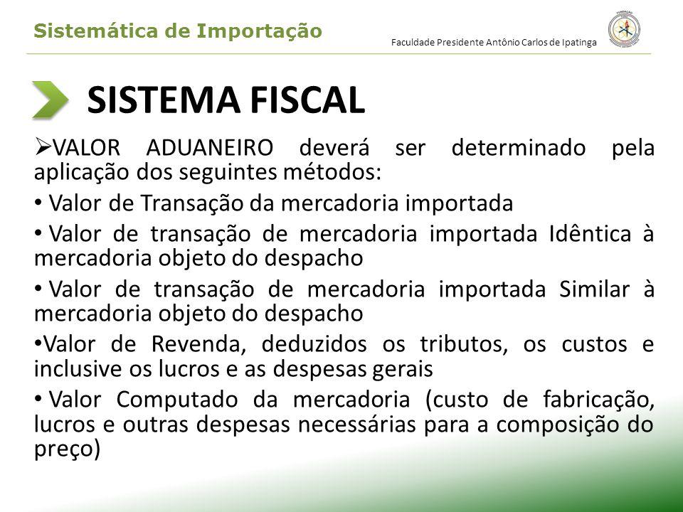 SISTEMA FISCAL VALOR ADUANEIRO deverá ser determinado pela aplicação dos seguintes métodos: Valor de Transação da mercadoria importada Valor de transa