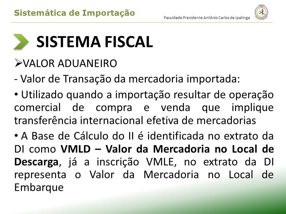 SISTEMA FISCAL ICMS – Imposto sobre operações relativas à Circulação de Mercadorias - A base de cálculo d ICMS, na importação, corresponde à soma das seguintes parcelas: Valor Aduaneiro I.I.