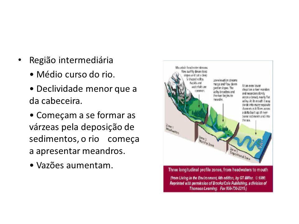 Região intermediária Médio curso do rio. Declividade menor que a da cabeceira. Começam a se formar as várzeas pela deposição de sedimentos, o riocomeç