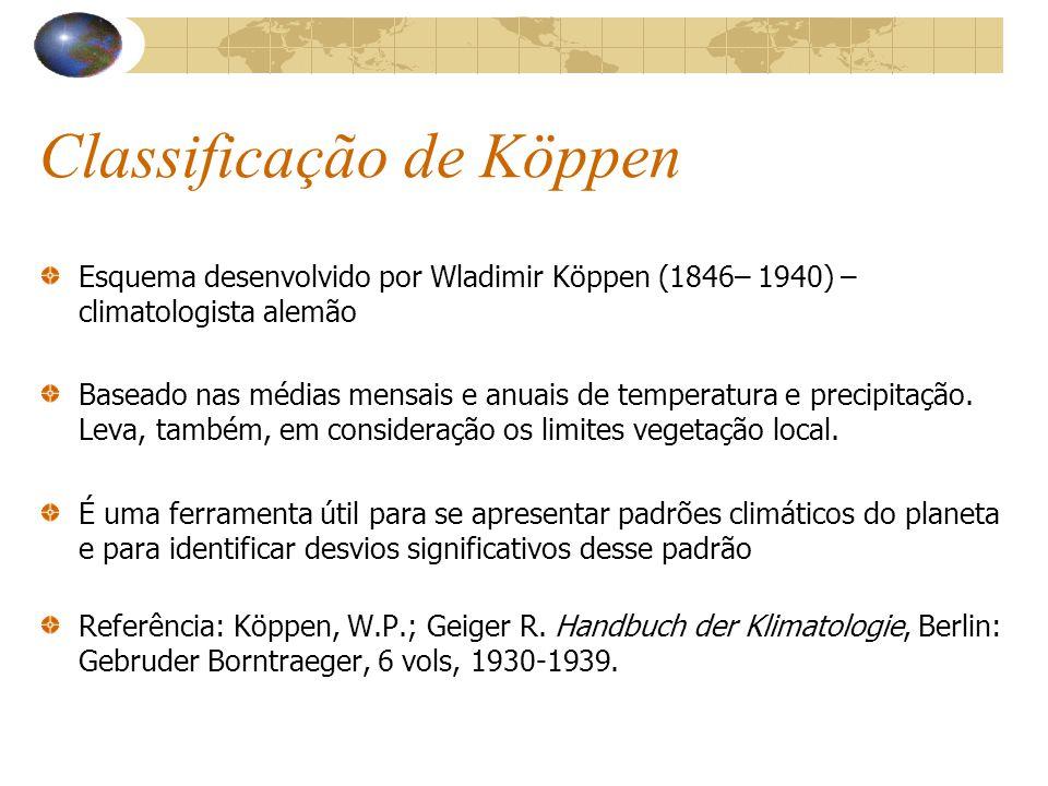 Classificação de Köppen Esquema desenvolvido por Wladimir Köppen (1846– 1940) – climatologista alemão Baseado nas médias mensais e anuais de temperatu