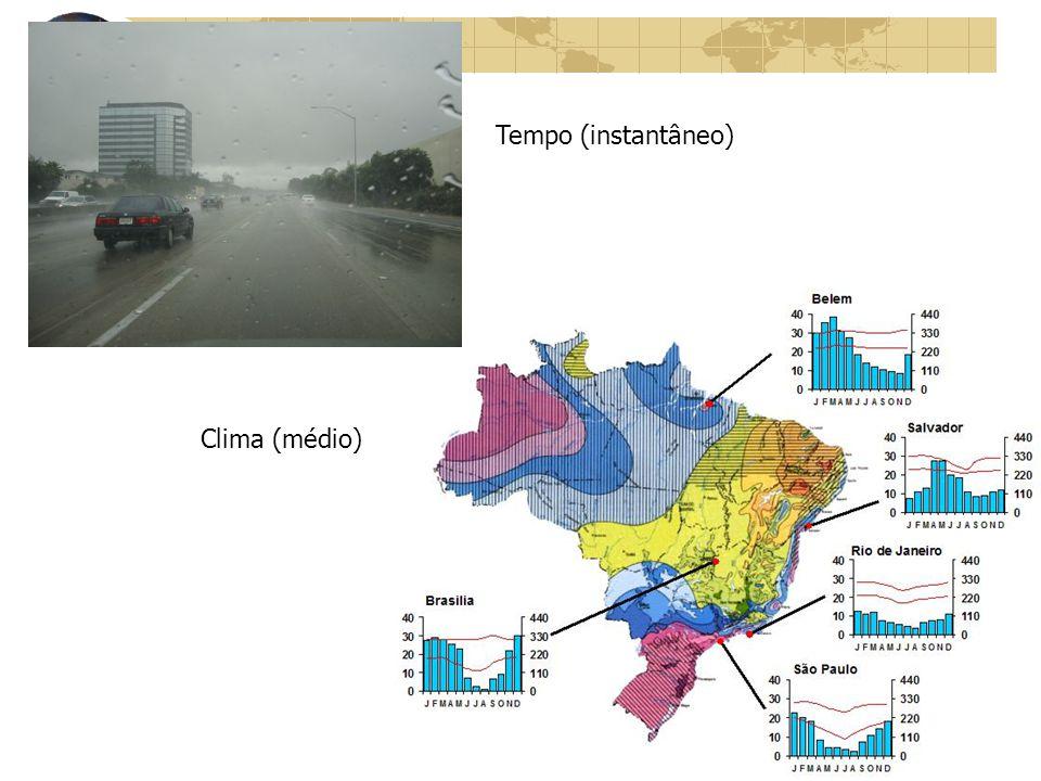 Climatologia CLIMA: descrição estática, que expressa as condições médias do sequenciamento do tempo meteorológico.
