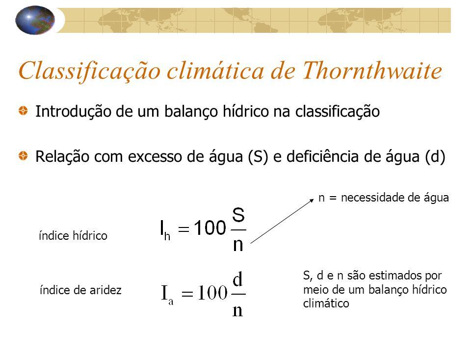 Classificação climática de Thornthwaite Introdução de um balanço hídrico na classificação Relação com excesso de água (S) e deficiência de água (d) ín