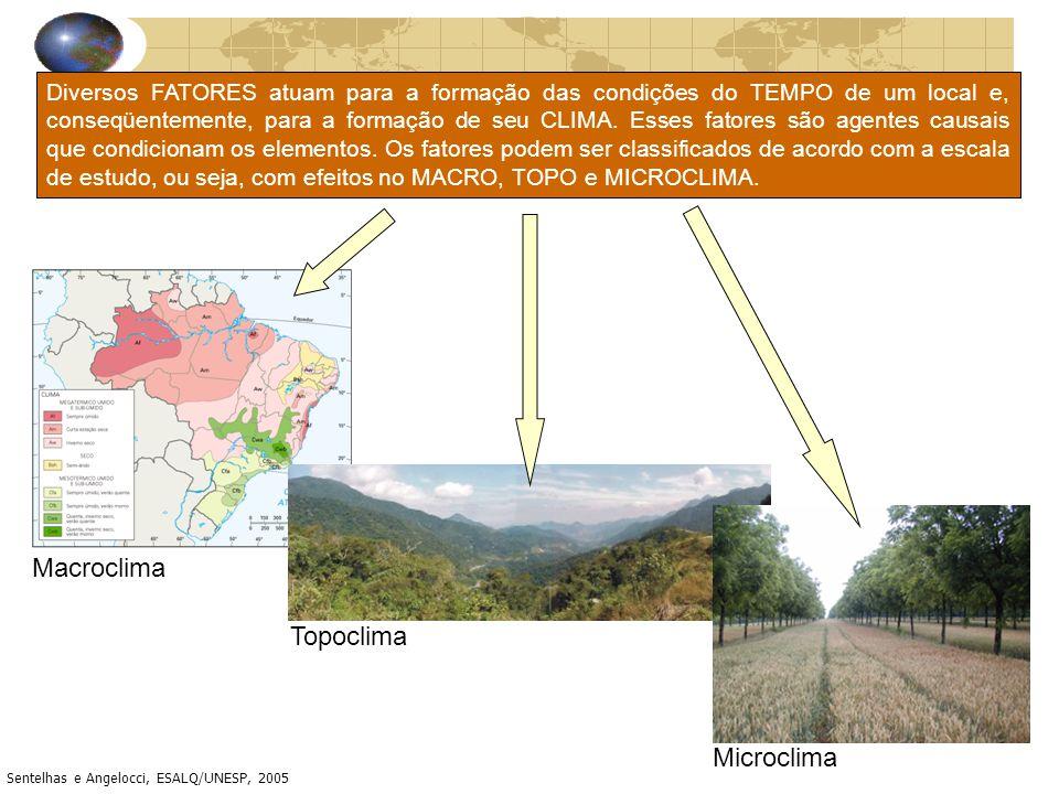 Diversos FATORES atuam para a formação das condições do TEMPO de um local e, conseqüentemente, para a formação de seu CLIMA. Esses fatores são agentes
