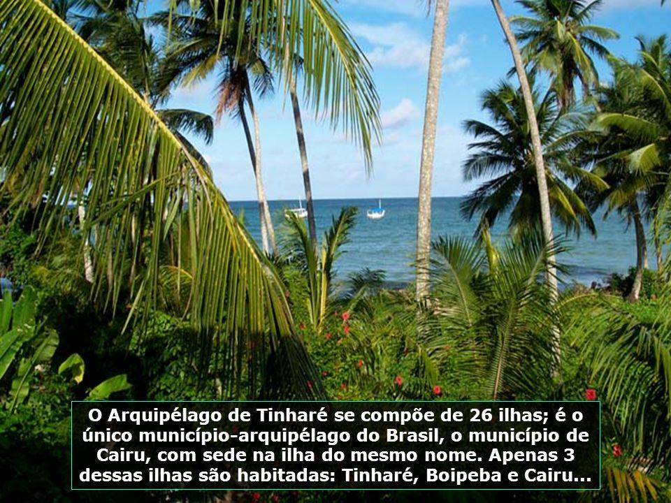 O Arquipélago de Tinharé se compõe de 26 ilhas; é o único município-arquipélago do Brasil, o município de Cairu, com sede na ilha do mesmo nome.