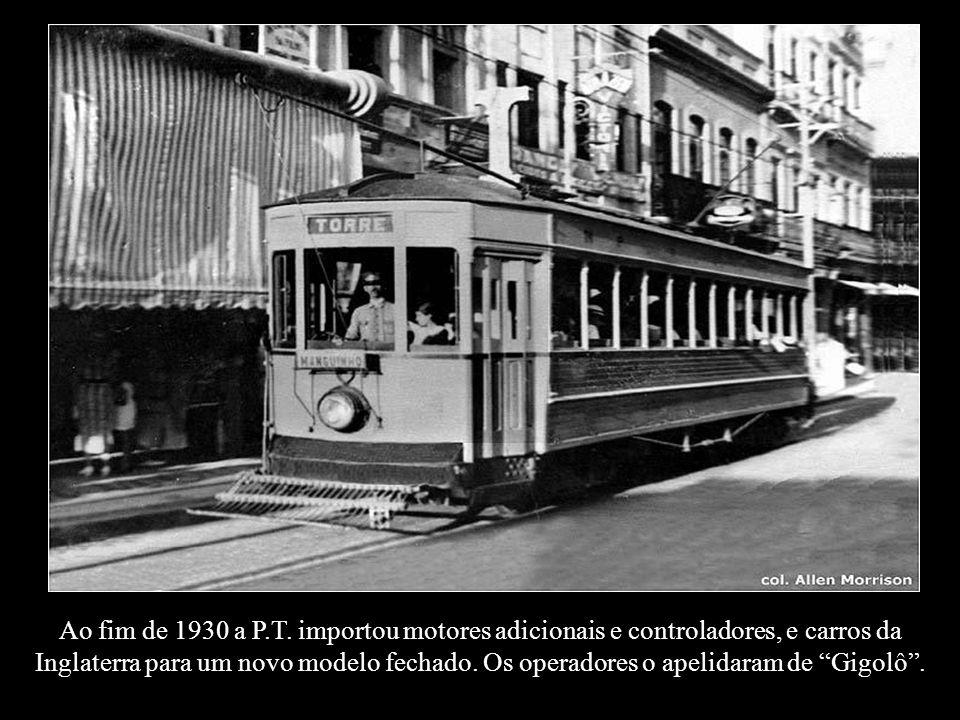 Em 1924 a P.T. converteu seus bondes abertos para fechados para a linha Boa Viagem
