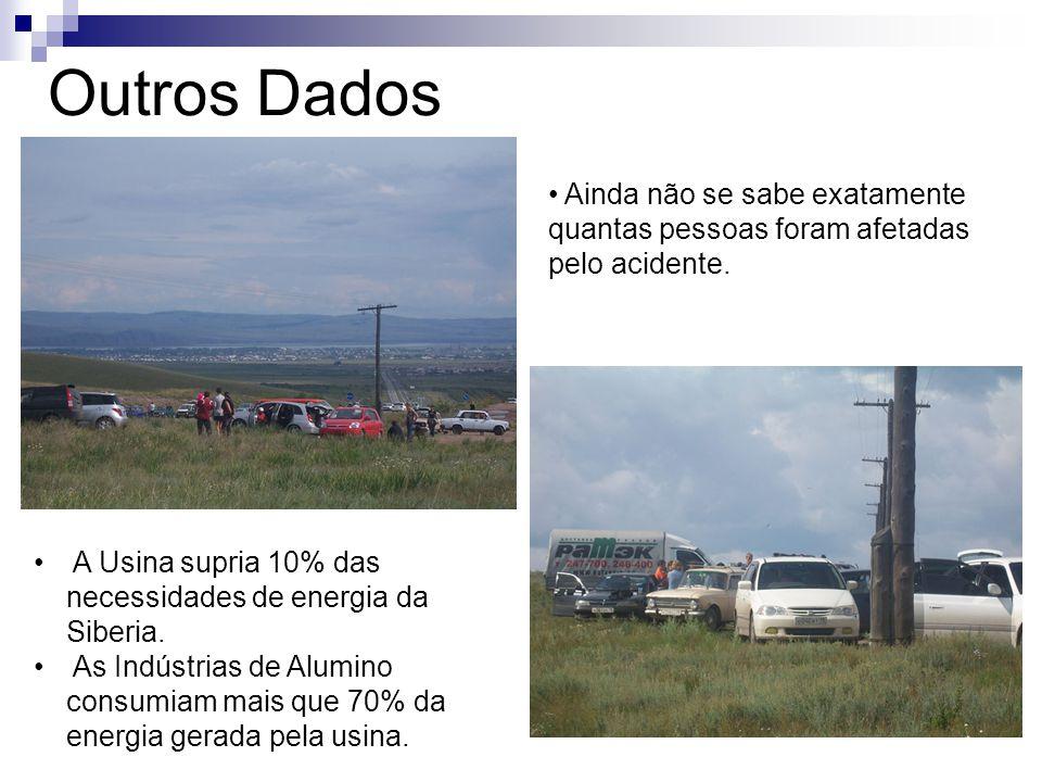 Outros Dados Ainda não se sabe exatamente quantas pessoas foram afetadas pelo acidente. A Usina supria 10% das necessidades de energia da Siberia. As