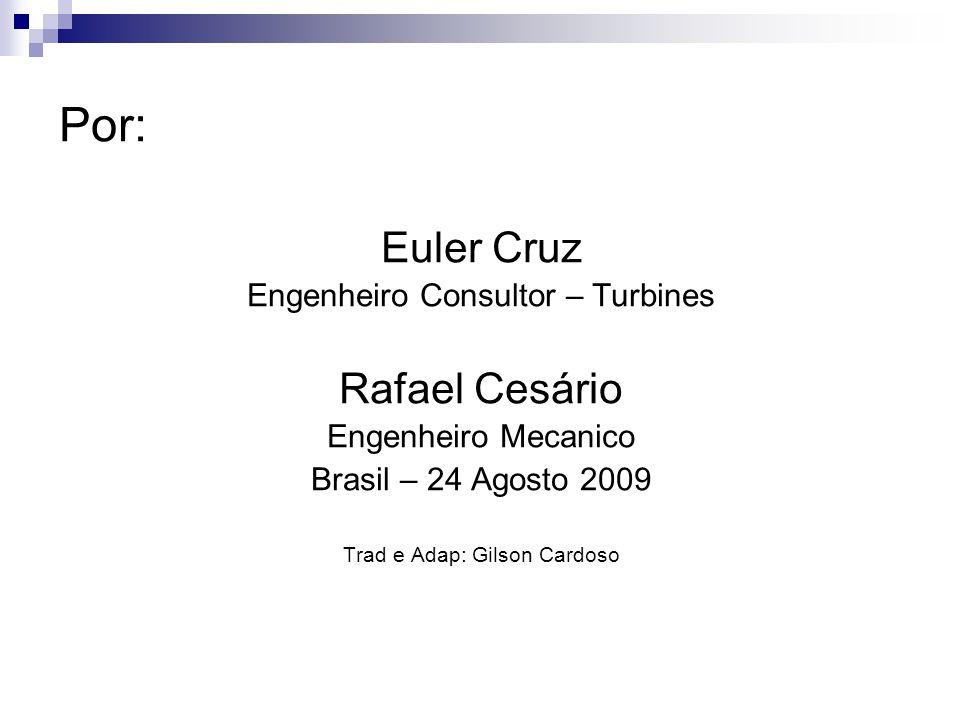 Por: Euler Cruz Engenheiro Consultor – Turbines Rafael Cesário Engenheiro Mecanico Brasil – 24 Agosto 2009 Trad e Adap: Gilson Cardoso
