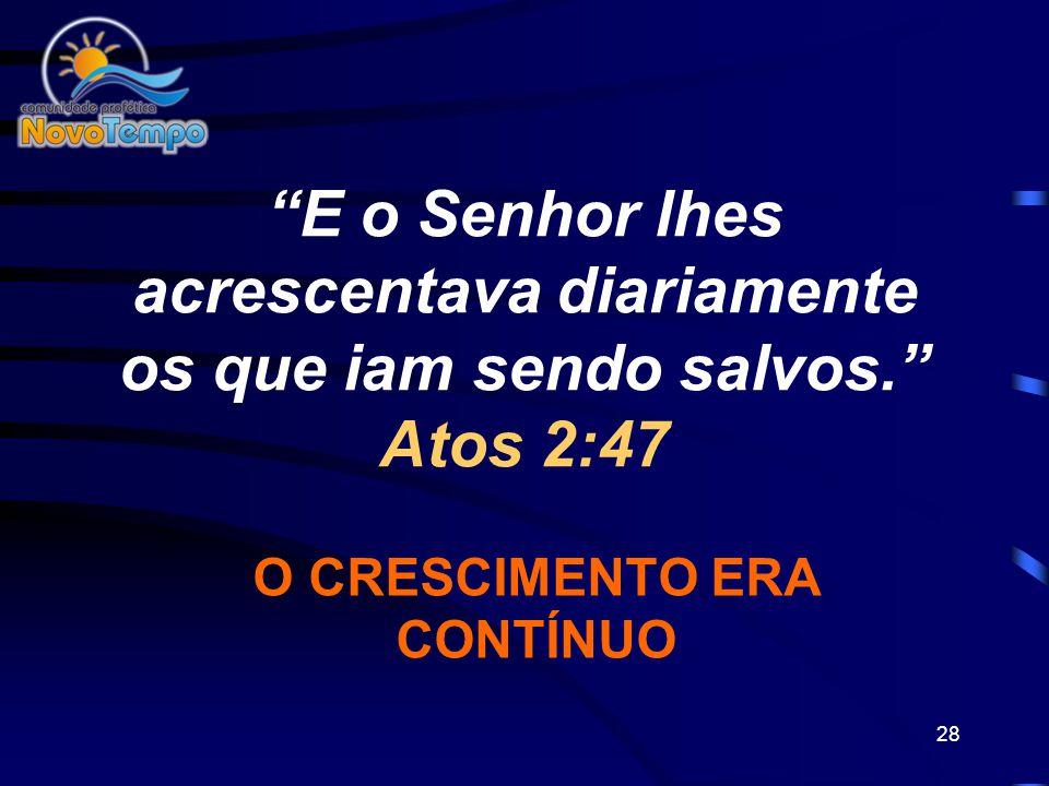 27 5.ORAÇÃO...Perseveravam nas orações. Atos 2:42 A Oração move a mão de Deus. Libera o Seu poder e nos dá unção e respaldo para ver resultados.