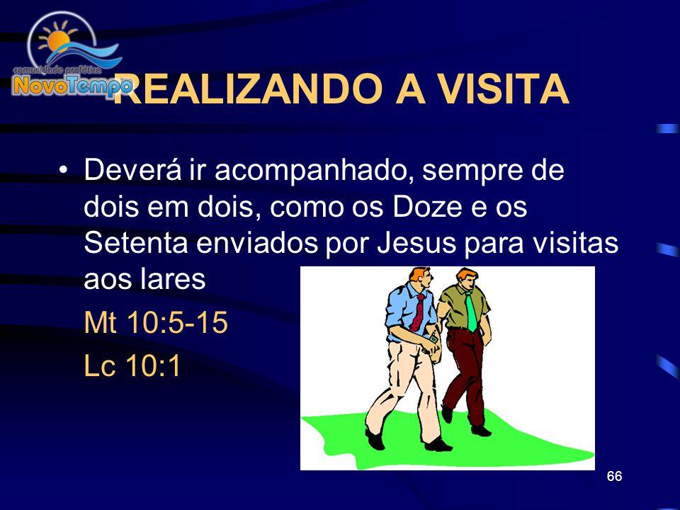 65 COMO PREPARAR A VISITA 1.Contate a pessoa e explique seu desejo de visitá-la e orar por ela 2.Confirme o dia e a hora da visita 3.Medite e prepare