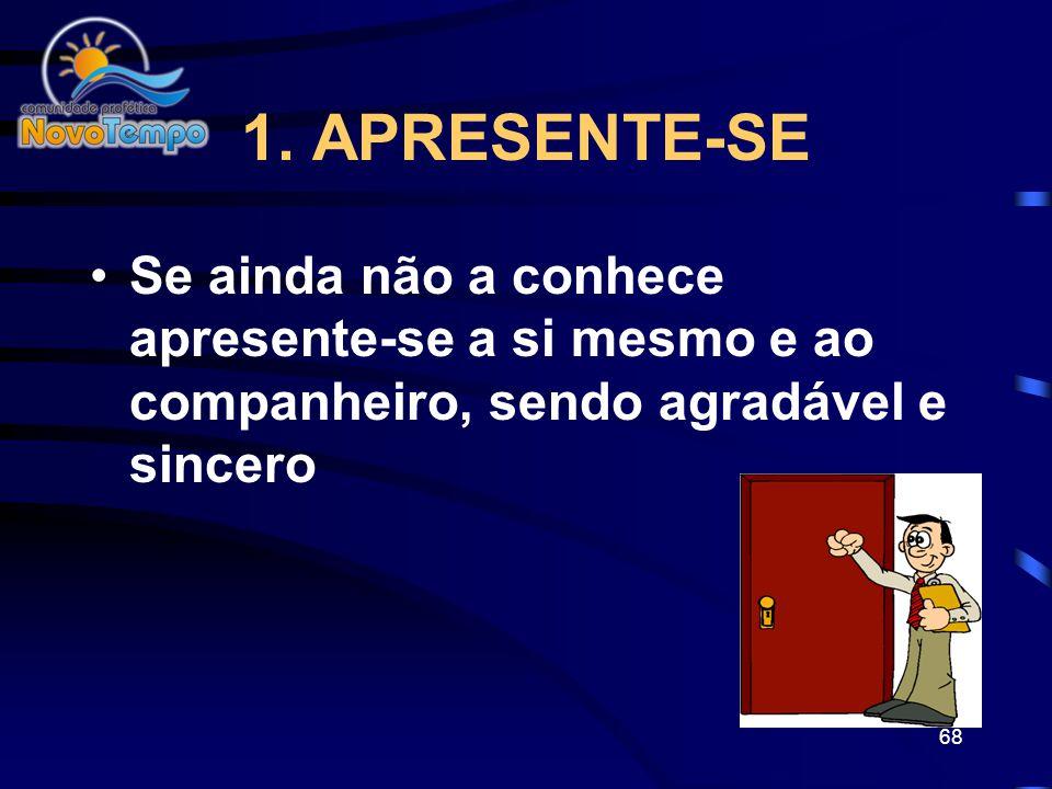 67 REALIZANDO A VISITA 1.Apresente-se 2.Indague 3.Compartilhe 4.Ore 5.Envolva 6.Libere Paz
