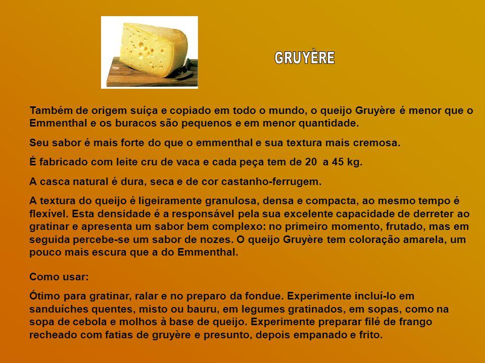 Também de origem suíça e copiado em todo o mundo, o queijo Gruyère é menor que o Emmenthal e os buracos são pequenos e em menor quantidade.