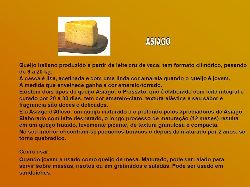 Queijo italiano produzido a partir de leite cru de vaca, tem formato cilíndrico, pesando de 8 a 20 kg.