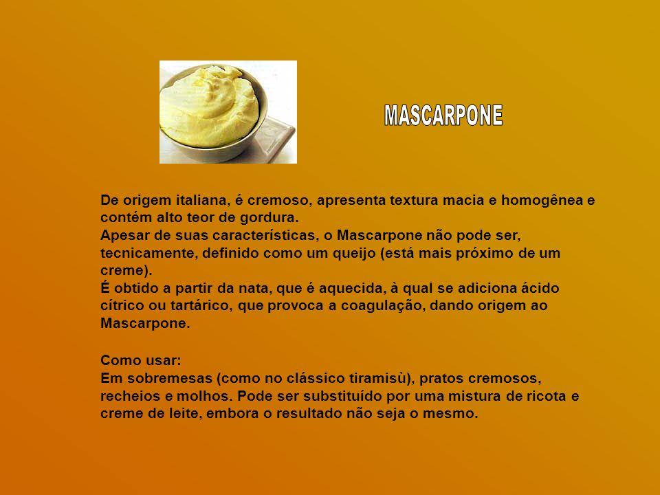 De origem italiana, é cremoso, apresenta textura macia e homogênea e contém alto teor de gordura.