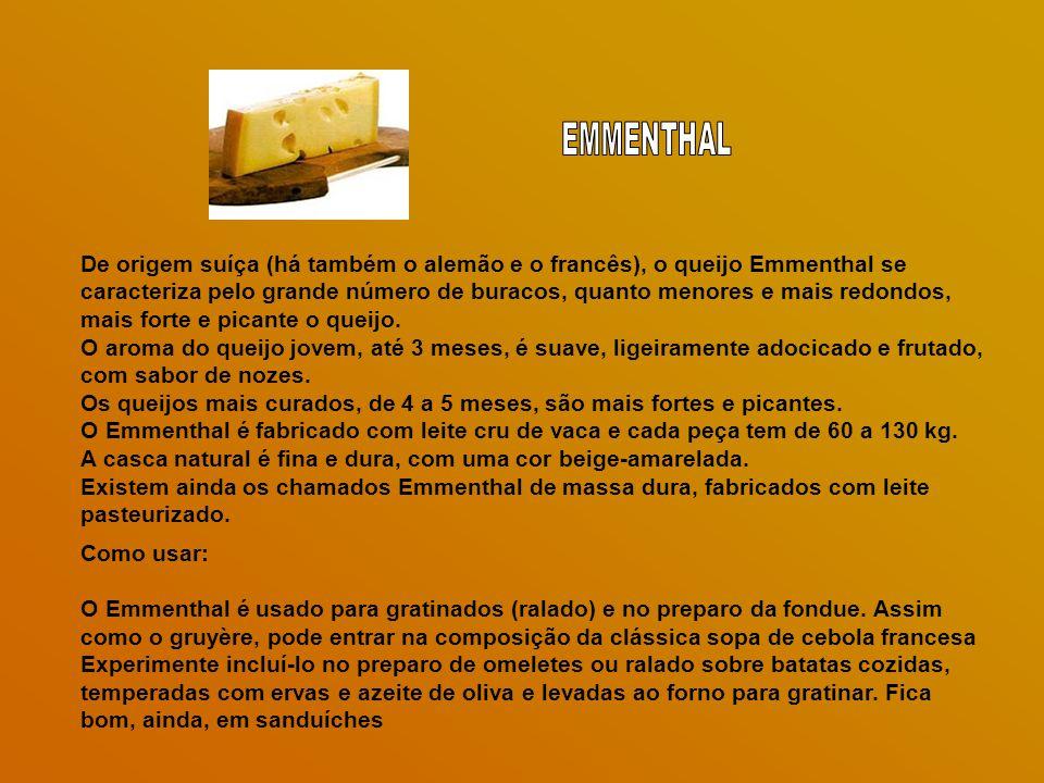 De origem suíça (há também o alemão e o francês), o queijo Emmenthal se caracteriza pelo grande número de buracos, quanto menores e mais redondos, mais forte e picante o queijo.
