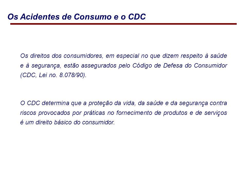Os Acidentes de Consumo e o CDC Os direitos dos consumidores, em especial no que dizem respeito à saúde e à segurança, estão assegurados pelo Código de Defesa do Consumidor (CDC, Lei no.