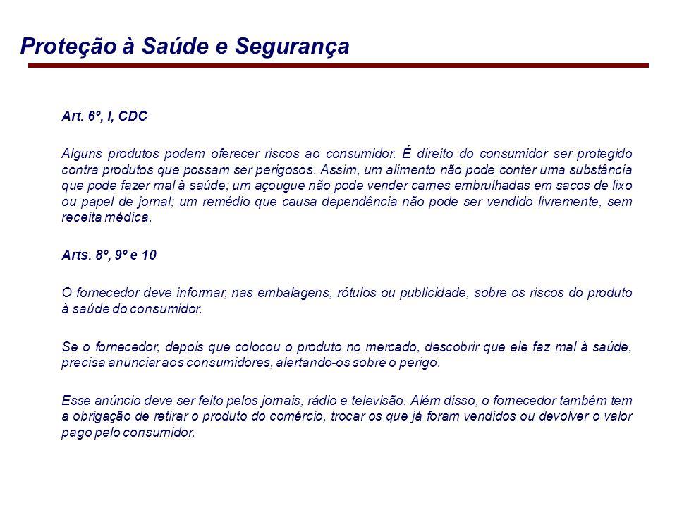 Art.6º, I, CDC Alguns produtos podem oferecer riscos ao consumidor.
