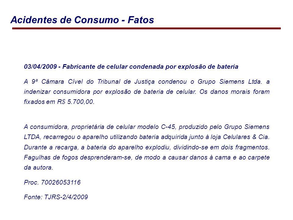 03/04/2009 - Fabricante de celular condenada por explosão de bateria A 9ª Câmara Cível do Tribunal de Justiça condenou o Grupo Siemens Ltda.