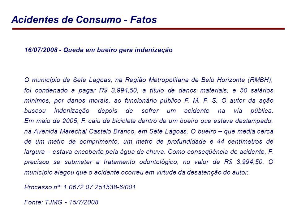 16/07/2008 - Queda em bueiro gera indenização O município de Sete Lagoas, na Região Metropolitana de Belo Horizonte (RMBH), foi condenado a pagar R$ 3.994,50, a título de danos materiais, e 50 salários mínimos, por danos morais, ao funcionário público F.